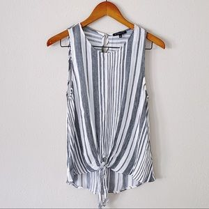 Staccato Striped Tie Front Tank White Size Large